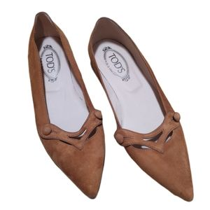 Tod's Suede Pointed Toe Ballet Flats - Size 8.5